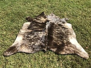 X Small Cowhide Rugs Brown Brindle Cow Hide Animal Skin Print Area Rug 4.5 x 4