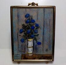 """Vintage Miniature enamelware painting by Hilda Kraus 4 1/2"""" by 3 1/2""""W"""