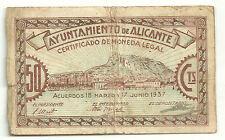 GUERRA CIVIL (NOTGELD) (ALICANTE) 50 CÉNTIMOS 1937 (RC+)