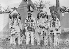"1927 Native American Indians in traditional clothing, 20""x14"" Photo -antique"
