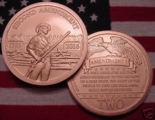 2016 2nd Amendment Copper Round Coin - 1oz - Rare Reeded - AOCS APPROVED