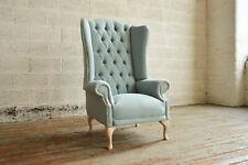 Handmade Egg Shell Blue Linen Highback Wing Chair