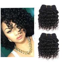 2 Bundles 8'' 7A Brazilian Kinky Curly Human hair Extensions Weft De 50g/pc 1B#