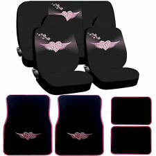 12 pc Angel Heart Black Pink Seat Covers Carpet Floor Mats Set New Universal