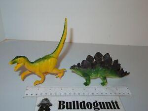 Lot 2 Dinosaur Figure Jurassic Figurine Plastic Velociraptor Stegosaurus Raptor