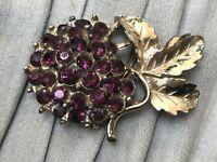 Vintage Flower Brooch Gold Tone Pin Purple Rhinestone Bright Costume Jewellery