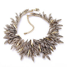 VINTAGE GOLD JEWELRY BRAND DESIGN GORGEOUS CRYSTAL PAVE LEAF STATEMENT NECKLACE
