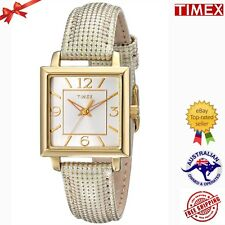TIMEX T2P379 Women's Elevated Classics Gold-Tone Square Metallic Leather Watch