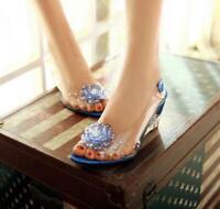 Womens Crystal Flower Open Toe Wedge Platform Mid Heel Shoes Sandals Transparent