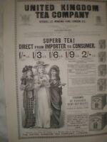 United Kingdom Tea Company art advert March 1893 ref AT