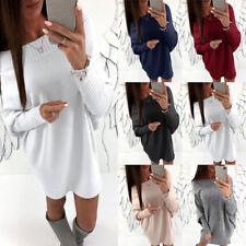 Damen Langarm Strickpulli Pullover übergroß Minikleid Strickkleid Pulli Spitzen
