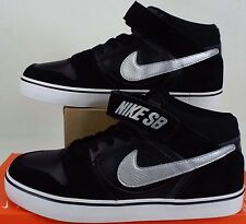 timeless design 14686 9eed0 RARE SAMPLE New Mens 9 NIKE SB Mogan Mid 2 Black Silver Suede Shoes 703551-