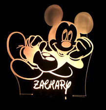MICKEY MOUSE PERSONALISED NAME LED NIGHT LIGHT LAMP 13 COLOURS KID'S & BABY ROOM
