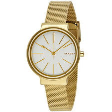 Skagen Ancher White Dial Ladies Gold Tone Mesh Watch SKW2477