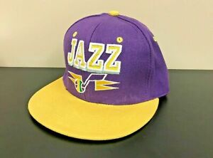 Utah Jazz Mitchell & Ness Hardwood Classic Snapback Hat, Cap Purple Yellow NBA