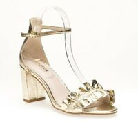 Kenneth Cole Reaction Women's Rise Ruffle Block Heel Sandals Gold Size 8 M US