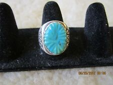 NATIVE NAVAJO  PAWN STERLING SILVER CARVED TURQUOISE ORNATE RING sz 10