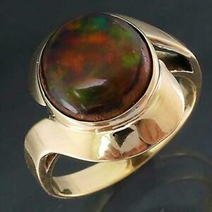 Unusual 10k Yellow GOLD MEXICAN CANTERA FIRE OPAL CABOCHON COCKTAIL RING Sz P