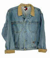 Vintage 90s Tommy Hilfiger Denim Blue Jean Trucker Jacket Crest Logo Large
