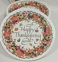 "Lot Thanksgiving 9"" Paper Plates Deep Dish 2 Packs 16 Total Gourds Pumpkins Corn"