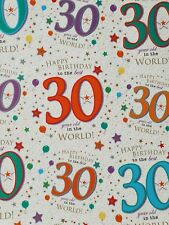 2 SHEETS OF GOOD QUALITY THICK GLOSSY 30TH BIRTHDAY WRAPPING PAPER