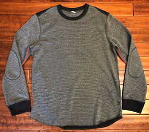 OAKLEY Pullover Sweatshirt Men's L Large Thermal Micro Fleece Gray Striped Gym