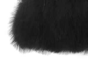 1 Yard - Black Marabou Turkey Fluff Feather Fringe Trim Garment Dress Party Prom