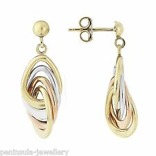 Premium 9ct White, Rose and yellow Gold 3 colour drop earrings, Hallmarked