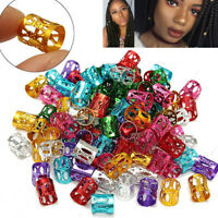 50pcs colorful Dreadlock Beads Women Adjustable Hair Braid Rings Cuff Clips Tube