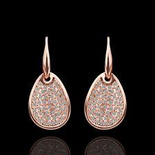 18k rose gold gf Austrian crystal filigree stud hook dangle earrings for women