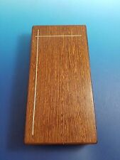 Danish Wood Cigar or Card Box w/ Inlaid Silver Lines and Cork Interior (#2)
