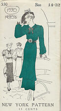 1930s Vintage Sewing Pattern B32 DRESS TUNIC BLOUSE (1530)