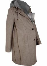 Tragejacke Umstands-Wintermantel 2in1 Optik Gr 44 Beige Damen Kapuzen-Mantel Neu