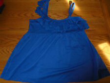 BNWT ladies blue Replay strappy top with frill. Size medium 10/12