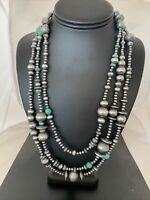 "70"" Navajo Pearls Native American Sterling Silver Royston Turquoise Necklace990"