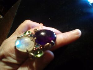 VTG Ring Large Cabochon AMETHYST MOONSTONE 2 inch Size 10 Sterling Silver Unisex