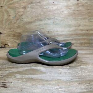 Crocs Men's Flip Flops Athens Size 12 Light Brown Green Slip On Sandals