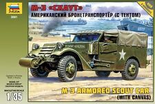 ZVEZDA 3581 - Armored Carrier M-3 Scout Car w/canvas / Scale Model Kit 1/35