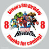 35 x Personalised Marvel Heroes Birthday Stickers Party Bag Box Sweet Cone 28