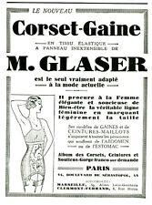 Publicité ancienne corset-gaine M. Glaser nouveau 1931 ou 1930  issue magazine