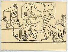 Bambino Radioamatore Radio Gatto Boy with Radio Cat PC Circa 1950