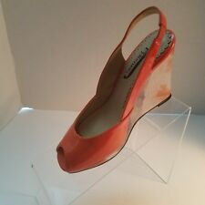 J. Renee Womens Orange Open Toe Platform Wedge Patent Leather Shoes Size 6M