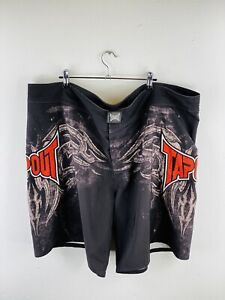 Tap Out Men's Shorts Size 44 Black MMA Boxing Casual Logo Adjustable Graphic