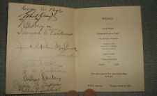 Original 1927 Dinner Ships Dinner menu from The R.M.S. Laconia: Signed See Photo