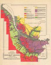 BORDEAUX WINE GEOLOGY. Carte géologique du Vignoble Girondin. LARMAT 1947 map