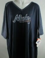 Atlanta Braves MLB Majestic Big & Tall Women's V-Neck 1/2 Sleeve Shirt