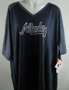 Atlanta Braves MLB Majestic Big & Tall Women's V-Neck 1/2 Sleeve Shirt