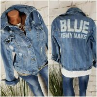 "NEU ITALY ANGESAGTE JEANS JACKE DESTROYED DENIM "" BLUE IS MY NAME"" L 38 40"