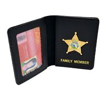 Florida Sheriff's Family Member Mini Badge Gold License ID Card Holder Wallet