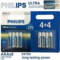 8 x PHILIPS AAA Ultra Power Alkaline Batteries - LR03, MX2400, MN2400, MICRO